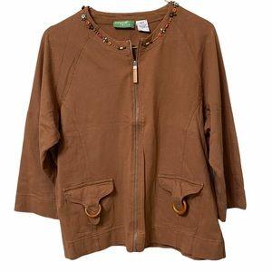 Onque Casuals Women's L Beaded 3/4 Sl Zip Sweater